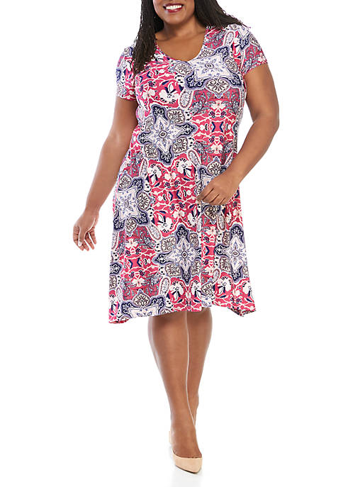 New Directions® Plus Size Short Puff Print Dress