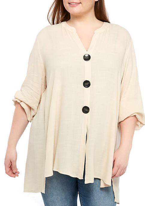 New Directions® Plus Size Button Tunic