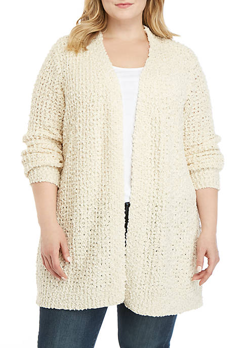 New Directions® Plus Size Teddy Cardigan