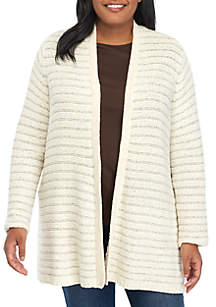 Plus Size Long Sleeve Chenille Lurex Cardigan