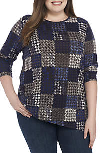 Plus Size Asymmetrical Hacci Print Pullover