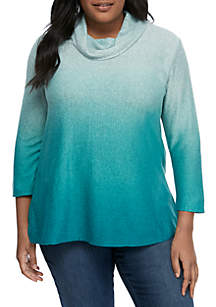 f8ad1e9db6cca ... New Directions® Plus Size Long Sleeve Cowl Neck Ombre Tunic
