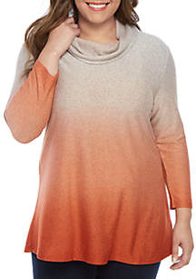 New Directions® Plus Size Long Sleeve Cowl Neck Ombre Tunic