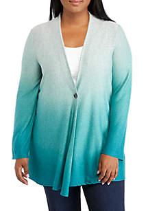 13e8126c4528 ... Plus Size Button Front Ombre Cardigan