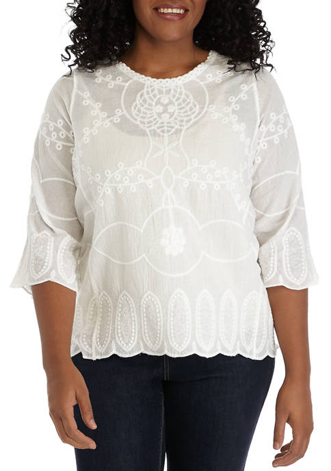 Plus Size Embroidered Linen Popover Top
