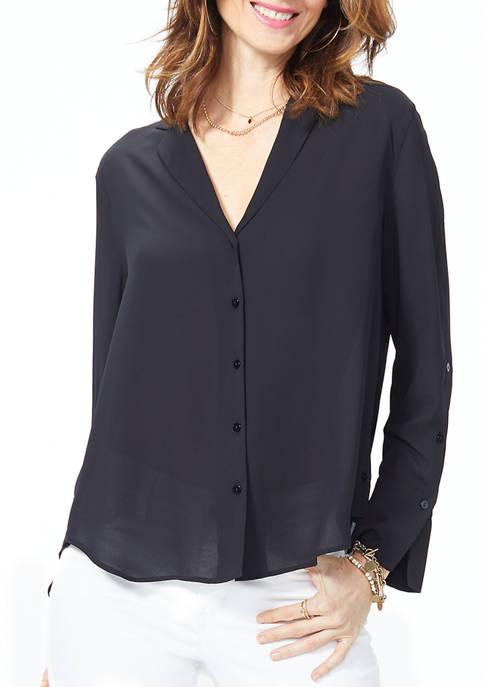 NYDJ Womens Chambray A Line City Shirt
