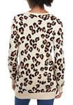 Womens Long Sleeve Leopard Print Sweater