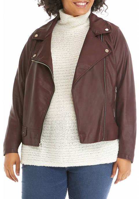 Plus Size Pleather Moto Jacket