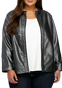 Plus Size Basic Polyurethane Jacket