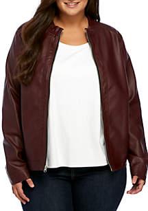 Plus Size Basic Jacket- Wine