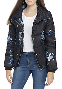 Floral Quilted Puffer Coat