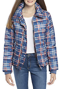 Plaid/Floral Quilted Puffer Jacket