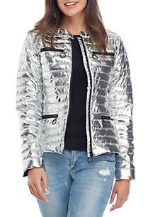 Contrast Zipper Puffer Jacket