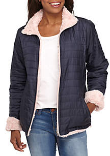Reversible Puffer Faux Fur Jacket