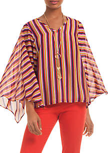Stripe Butterfly Sleeve Top