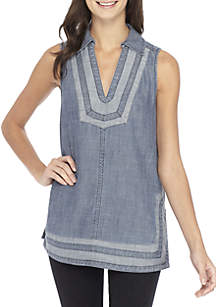 Pleasanton Sleeveless Collard Top