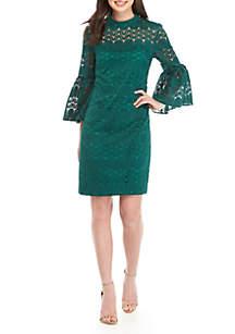 Twist Lace Bell Sleeve Dress
