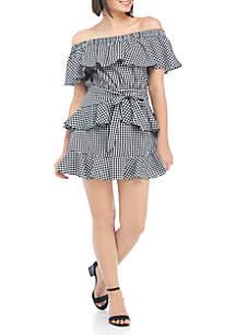 Gingham Off-The-Shoulder Ruffle Dress