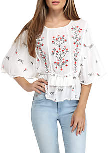 Floral Embroidered Tassel Trim Top