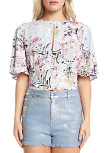 Floral Short Sleeve Tie Back Blouse