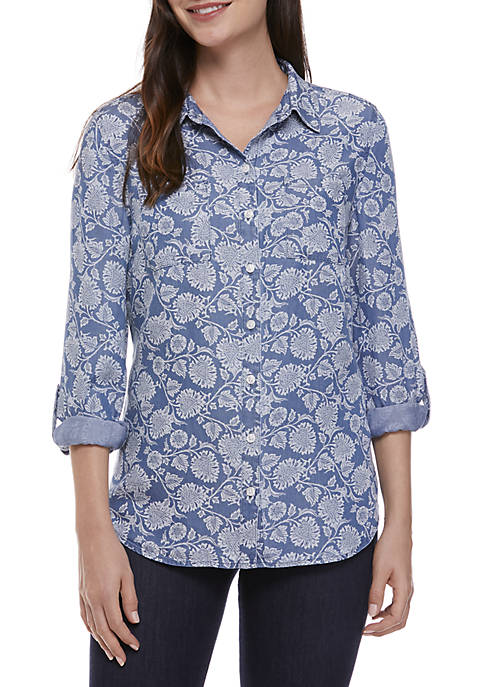 New Directions® 3/4 Sleeve Chambray Button Front Shirt
