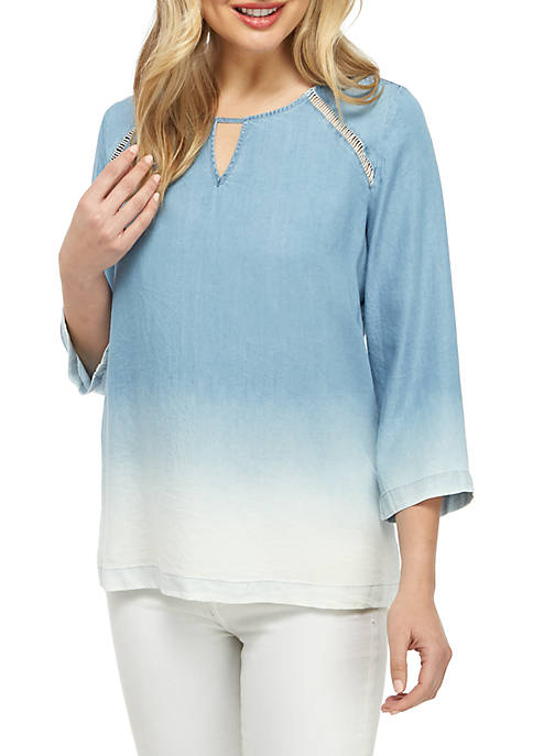 New Directions® 3/4 Sleeve Keyhole Chambray Top