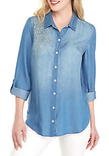 New Directions® Long Roll-Tab Sleeve Chambray with Sequin Shoulder Top