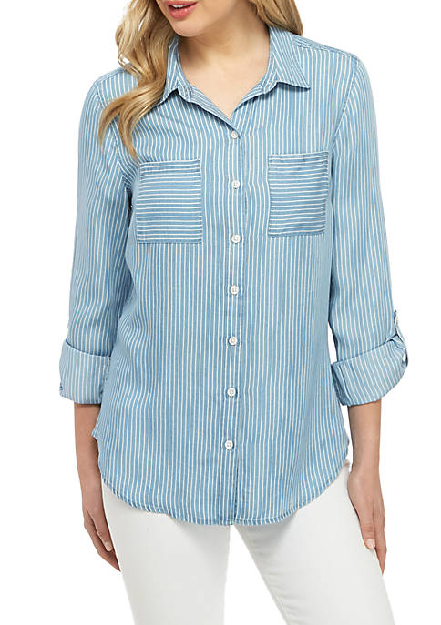 Chambray Button Front Shirt