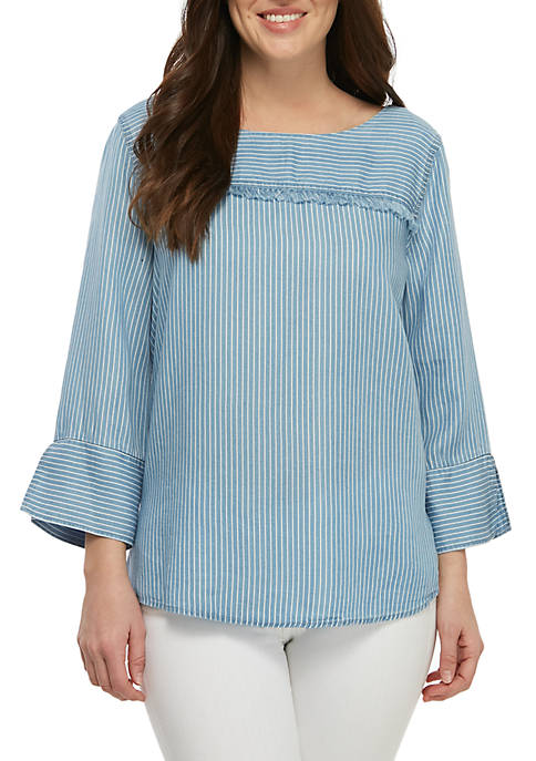 New Directions® 3/4 Sleeve Chambray Fringe Top