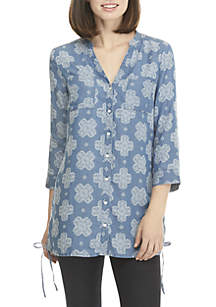New Directions® Button Down Knit Tunic Top