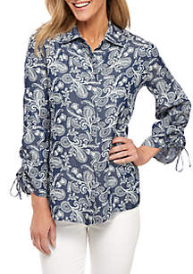 New Directions® 3/4 Cinched Sleeve Print Chambray Button Front Top