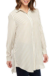 New Directions® Stripe Tie Front Long Sleeve Tunic