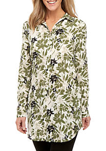 940dd307dab ... New Directions® Floral Tie Front Long Sleeve Tunic