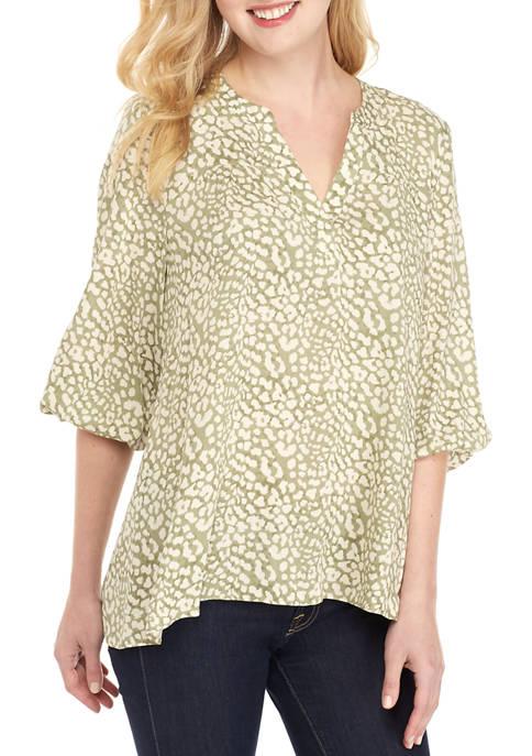 New Directions® Long Sleeve Sharkbite Printed Peasant Top