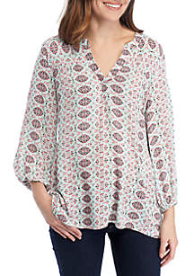New Directions® 3/4 Sleeve High Low Hem Peasant Top
