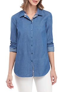 New Directions® Long Sleeve Button Front Light Wash Tencel® Top with Printed Back