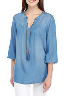 New Directions® 3/4 Sleeve Tencel® Peasant Top