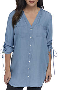 f0a0ef00d7 ... New Directions® Petite 3 4 Cinch Sleeve Tunic