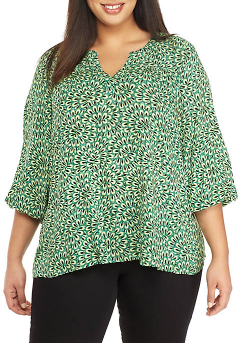 New Directions® Plus Size 3/4 Sleeve Printed Peasant