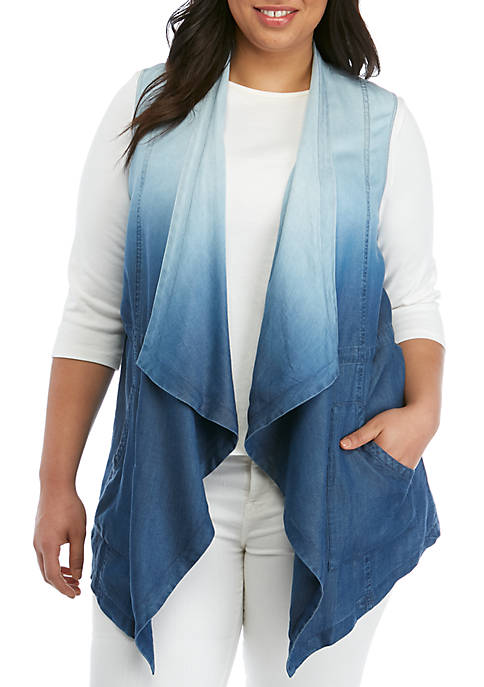 Plus Size Chambray Vest