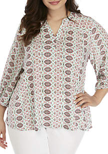 New Directions® Plus Size 3/4 Sleeve Printed Shark Bite Peasant Top