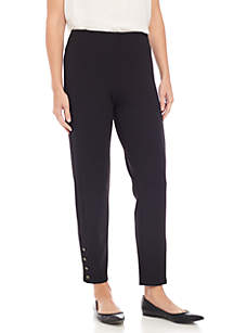 Pull On Ankle Ponte Pants with Studded Hem