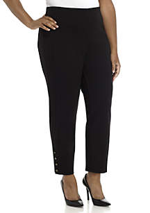 Plus Size Ponte Pant with Ankle Studs