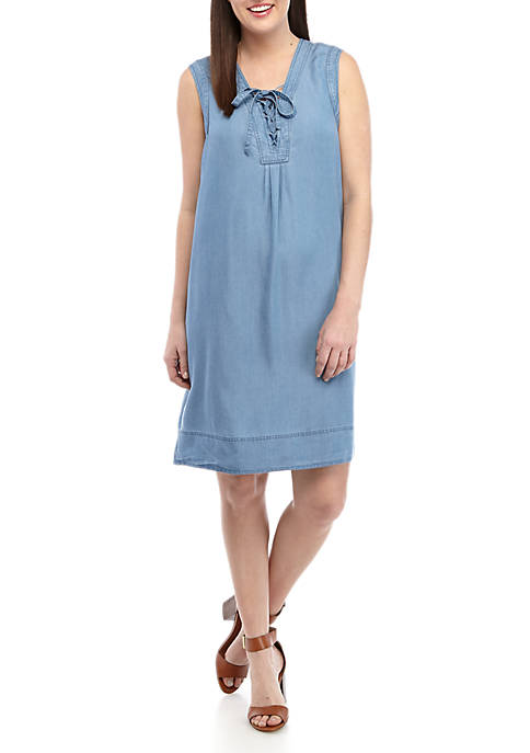 Sleeveless Tencel® Lace Up Neckline Tank Dress