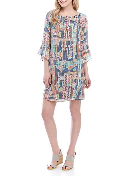 3/4 Sleeve Printed Smocked Neck Linen Slub Dress
