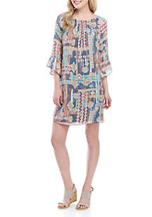 New Directions® 3/4 Sleeve Printed Smocked Neck Linen Slub Dress