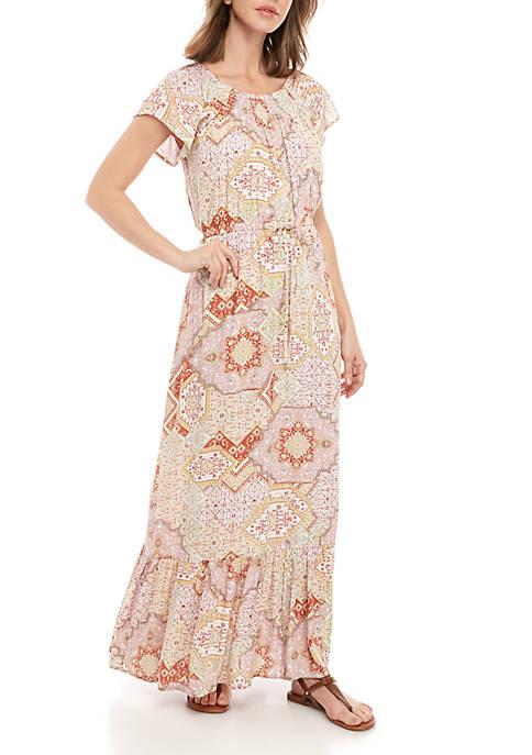 Short Sleeve Printed Cinch Waist Dress