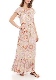 New Directions® Short Sleeve Printed Cinch Waist Dress