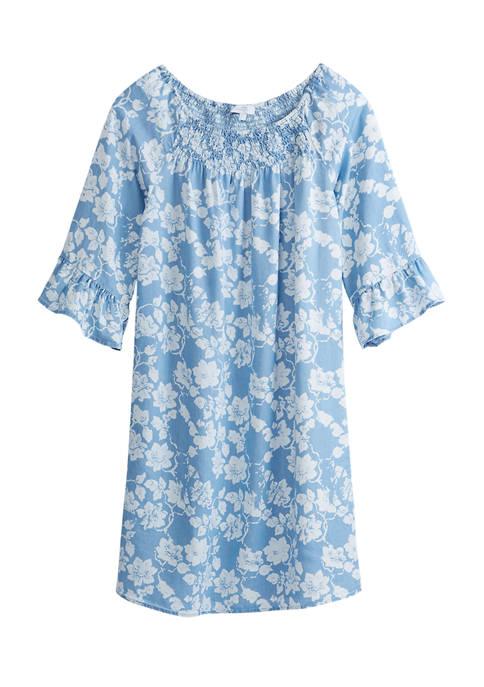 Womens 3/4 Sleeve Smock Front Stripe Dress