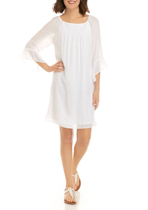 New Directions® Womens Smocked Front Linen Like Dress